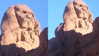 صورة أبو الهول الثاني يظهر بالسعودية بالقرب من حائل.فيديو