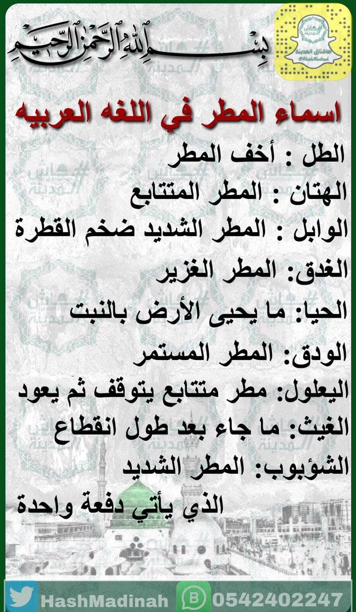 """هاشتاق المدينة en Twitter: """"اسماء المطر في اللغه العربيه #صباح_الخير  #المدينة_المنورة… """""""